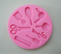Beautiful  Hair Dressing tools Shape Silicone 3D Mold Cookware Dining Bar Non-Stick Cake Decorating fondant soap mold--C255