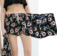2014 Summer European Fashion Style Slim Fit Loose Printed Shorts For Women/Trendy Printed Chiffon Shorts For Women