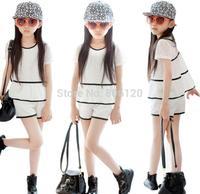 Freeshipping 1pc 2014 Summer New Girl's Fashion chiffon lace two-piece Set (shirt +short pant) for children 100CM-150CM GIRLS