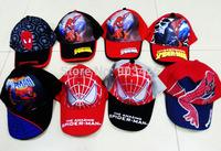 Wholesale 100pcs/Lot !2014 The Newest Spiderman Hat Cartoon Children Berets Visors Cap Sun Hat For Boy G3664 Free Shipping