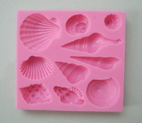 Beautiful Sea Shell and Conch Shape Silicone 3D Mold Cookware Dining Bar Non-Stick Cake Decorating fondant soap mold--C251