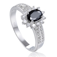 2014 Summer New Fashion Cute Shape Plated White Silver Crystal Zircon Flower Black Gem Rings Jewelry For Women