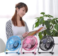Retail pack 15CM 360degree Rotatable USB fan metal with power line as mini silent fan laptop cooling fan as summer office supply