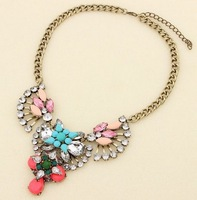2014 Brand NEW Luxury Link Chain Girls Flower Pendant Statement Chocker Necklace Chunky Fashion Jewelry Christmas Gift
