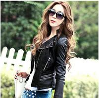 2014 Hot Sale Spring And Autumn Korean Short Slim Thin PU Motorcycle Jacket , Plus Size Women Coat , S-XXXL ,5119  Free Shipping