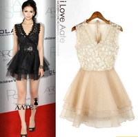 2014 New Star Of The Same Paragraph, Summer In Europe And America Lace Gauze Back Perspective V Neck Dress