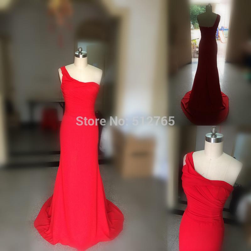 2014 Red One- Ombro Longo Sereia Cauda vestido de noite formal Simples Real Fotos Charme Chiffon Prom Vestidos NB0513(China (Mainland))