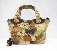2014 global sales lady handbag with canvas with head layer cowhide, inclined shoulder bag # 8401 free shipping