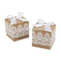 "New design ""Rustic & Lace"" Kraft Favor Box ,Wedding boxes,Gift boxes 100pcs/lot"