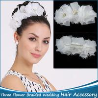 1pc Flower Braided Three Flowers Headdress Bridal Wedding Flower Garland Bridal Hair Accessories Headbands Hair Ornaments
