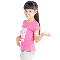Kids  Girls Short T-shirts Sweet Clothes Bowknot Girls Shirts Size 6-15 Years free shipping children clothing