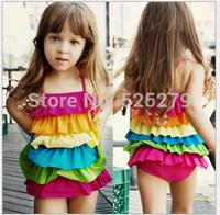 Retail - 2014 Fashion kids swimwear girl one-piece swimsuit layer children beach wear free shipping rainbow colo