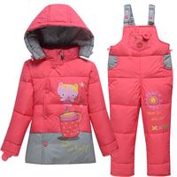 Child down coat male female child set children thick bib pants open file winter jacket  outwear