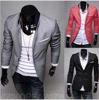 2014 autumn and winter pocket applique solid color male suit blazer suit outerwear male
