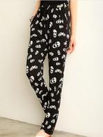 Fashion Korean Women Harem Pants Skull Printing Casual Losse Lightweight Soft Pants Female 6476