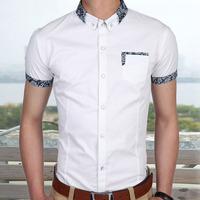 2014 new arrive solid color casual men's shirts short sleeve slim fit navy white blue M L XL XXL XXXL920