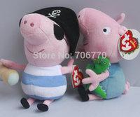 "IN HAND ! 1 PAIR by Ty Original Peppa pigs George Pirate 15cm 6"" Plush Toy Movie TV Stuffed Animals Dolls Kids FREE SHIP"
