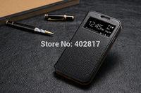 Luxury Retro 100% cowhide leather Flip case for Samsung Galaxy S4 i9500,Lichee Pattern view window Intelligent sleep phone case