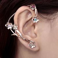 Multicolor Rhinestone Flower Ear Wrap Earring Rose Gold Wholesale 1 piece Free Shipping Fashion Earrings For Women Top Quality