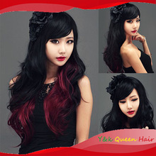 2014 fashion full oblique bangs girl lolita cosplay Party wigs black red gradients long hair wig body wave free shipping(China (Mainland))