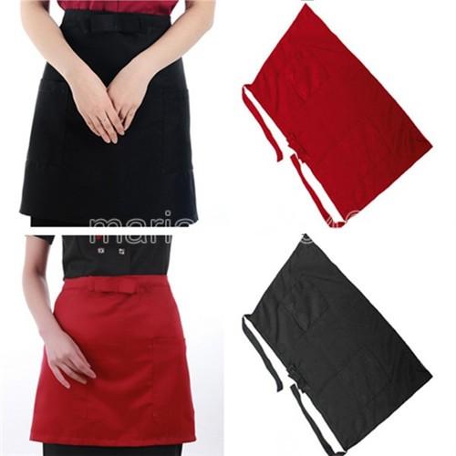 Free Shipping Bow Half Waist Pocket Bar Cafe Cooking Waiter Restaurant Kitchen Apron Black Red(China (Mainland))