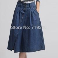 Free Shipping 2015 Brand Fashion Summer Women Long Casual Denim Skirts Ladies Longa Jeans Saias Femininas Jeans Skirts Plus Size