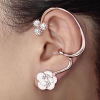 Crystal Enamel Rose Ear Wrap Flower Cuff Earring Gold Wholesale 1 piece Free Shipping Fashion Earrings For Women Top Quality