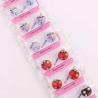 Wholesal e 12 Pairs Mix Colour One Card Beetle Magnetic Back Women Girl Child Clip On Ear Stud Earrings Free Shipping