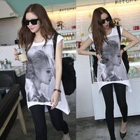2014 summer women t-shirt beauty girl print t-shirt white long style short sleeve women tops free shipping xc-1439