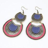 2014 New Ethnic Design Vintage Gold Drop Earrings Jewelry Enamel with Crystal Dangle Earring for Women Men Jewelry Accessories