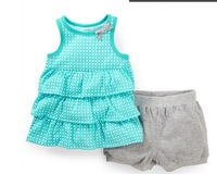 BB100 Free Shipping New Carters Baby Girls Clothing Set  Girls Summer Suit  2-Piece Ruffled Top & Bubble Short kids Sets Retail