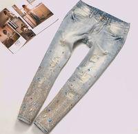 2014 New Arrival Female Diamond Hole Capris Scratched Rivet Sequined Wash Vintage Women's Denim Jeans trousers pants for women