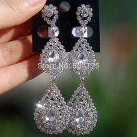 min.mix order is $10--- Hot Selling Crystal rhinestone drop dangle water drops earrings Luxury statement wedding chandelier