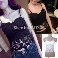 Women's sexy Fashion lace floral crochet strap tube top vest crop tops tank camis short tops black white #11 SV003304