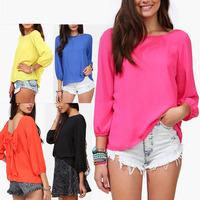 Spring 2014 European Style 5 Colors  Fashion Women Backless  Blouse  Summer Chiffon Loose  Bow Pattern Shirt  S-M-L-XL E2712-30