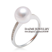 DAIMI 925 Sterling Silver Pearl Ring  High Quality  Round  Freshwater Pearl Good Luster Fine Ring Free Shipping
