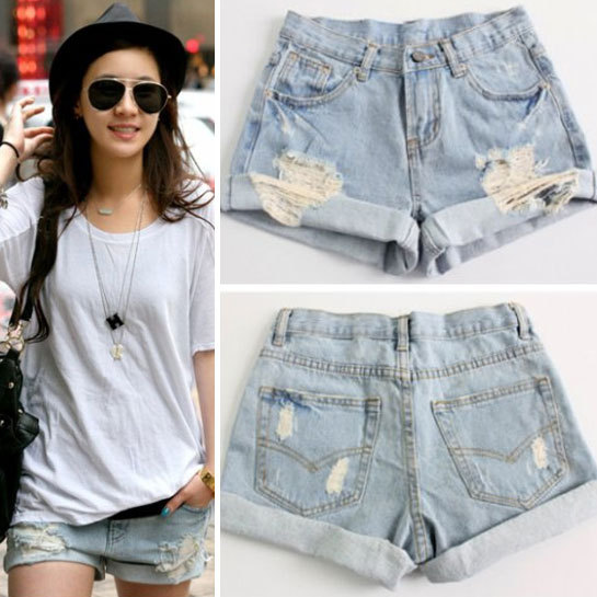 2014 Summer Mid waist women denim shorts women's hole short Pants women's jeans shorts GLM 335(China (Mainland))