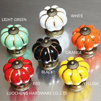 10PCS/LOT FREE SHIPPING 40MM COLORED Pumpkin Ceramic Knobs for Kids/ Children Cabinets Cupboard Knobs and Pulls Door Hardware
