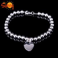 lovely 1PCS S925 Sterling silver 6mm Men and women ball bracelet bangle
