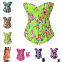 Women 's Plus Size corselet Sexy Floral Flower Bustier Denim Overbust Burlesque waist training corsets oulin Rouge Corset