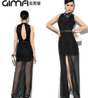 Fashion New Lace Patchwork High Split Elegant One-piece Dress