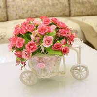 [5 color] small rose artificial flower set Rattan car + mini roses decorative silk flowers home decrations