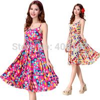 2014 Summer cotton Beach dress. bohemia short spaghetti strap one-piece plaid dress, Promotion!