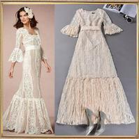 Fashion Elegant Lace Dress Three Quarter Flare Sleeve Perspective Long Dress