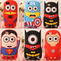 3D Superhero Captain America Iron Man Batman Superman Silicone Case for iphone5/5s phone case