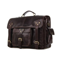 J.M.D 2014 New Cow Leather Men's  Handbag Laptop Bag  Travel Shoulder  Bag Black Briefcases  # 7200C