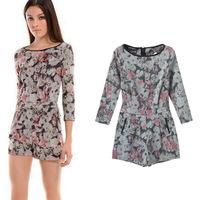 2014 New European Designer Women Short Jumpsuit Three Quarter Sleeve Fashion Flower Printed Free Shipping Women Clothing Eu291