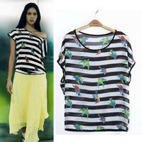 2014 Summer New Arrival Chiffon T-Shirt For Women Sleeveless Striped Cute Bird Printed Loose Top Tees Free Shipping Eu470