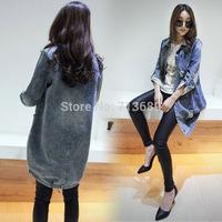Free shipping 2014 casual denim coat long-sleeve jacket jean jacket women size S,M,L,XL,XXL 9302