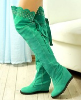 Over the knee boots for women Rhinestone Cutout Uppers Hidden Wedges Knight Boots Round Toe Platform Winter Spring Shoes ADM968